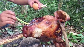 Primitive Technology - Find Big pig Cooking in Forest - grilled pig eating delicious