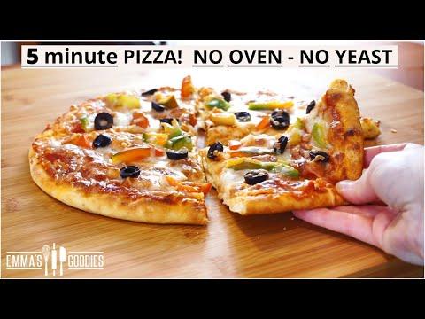 5 Minute NO OVEN, NO YEAST PIZZA! Lockdown Pizza Recipe