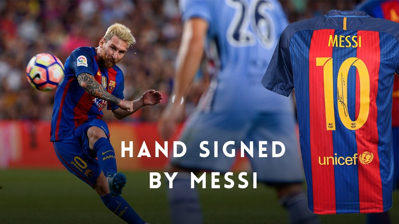 33d6f8e38 LIONEL MESSI SIGNED BARCELONA JERSEY - YouTube