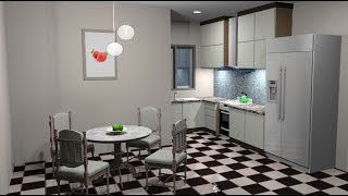 Sketchup Interior design ( Make a Kitchen minimalis )