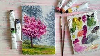 Пишем цветущее дерево маслом [Пошаговый урок]