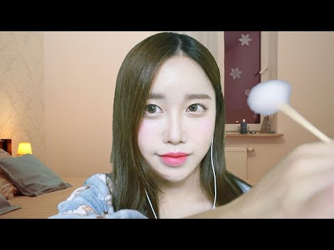 Asmr twin ear cleaning ear oil massage ear brushing ear tapping and tingly sounds - 5 1