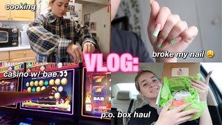 VLOG: cooking, broke my nail, p.o. box haul, &amp casino with bae