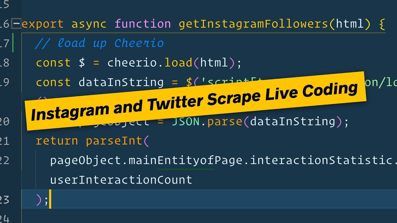 Wes Live Codes a Twitter and Instagram Scraper with Node js - DAY 1