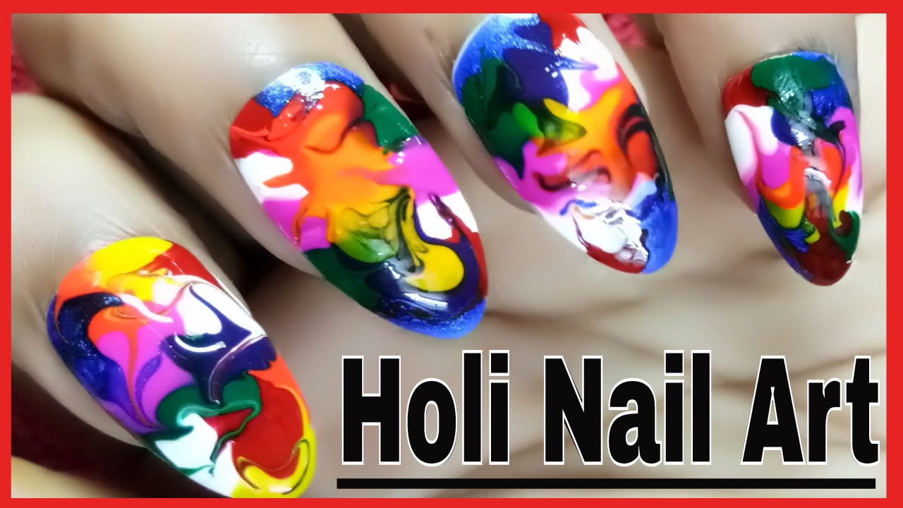 Holi Special Nail Art | March Nail Art Designs | Toothpick ...