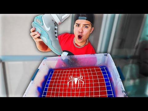 Hydro Dipping Nike Air Mags! (Spider-Man Custom)