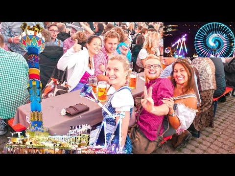 Germany Stuttgart attractions 4K 2016 Oktober. Fest Cannstatter Wasen. Штутгарт, аттракционы.