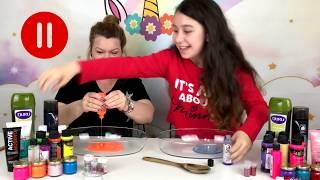Pause slime challenge - With Mom - Eğlenceli Video
