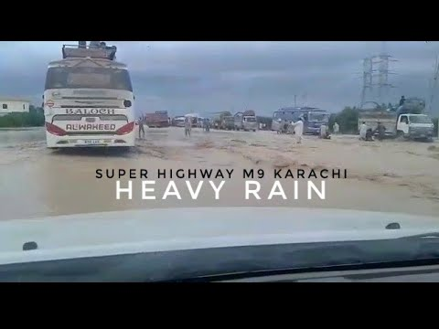 Super highway karachi after heavy rains  flood like situation 30 aug 2017
