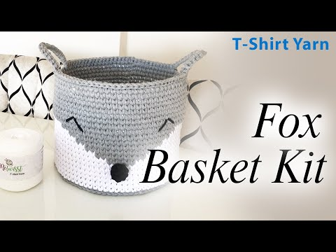 Crochet Basket T-Shirt Yarn Fox Basket Kit