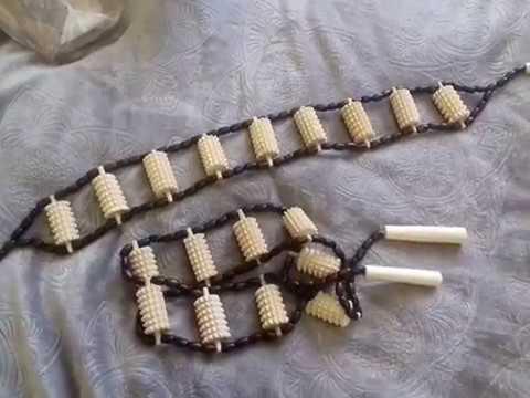 Купить Массажер для спины ленточный с игольчатыми валиками деревянный
