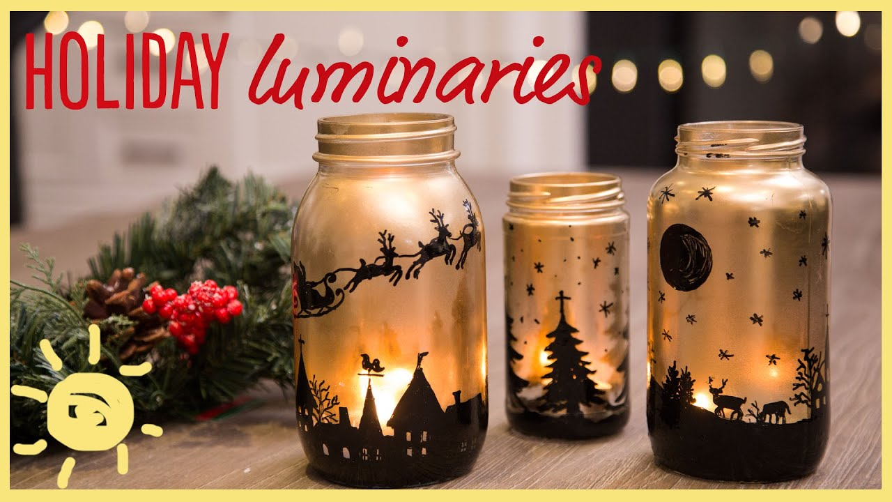 Diy holiday mason jar luminaries youtube solutioingenieria Images