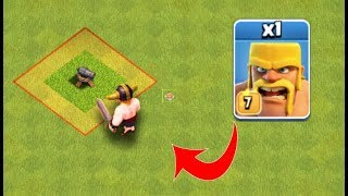 1 Barbarian Max Level 7 Vs 1 Cannon Level 1 in Coc, Clash of clans Attacks, Clash of clans Builder B