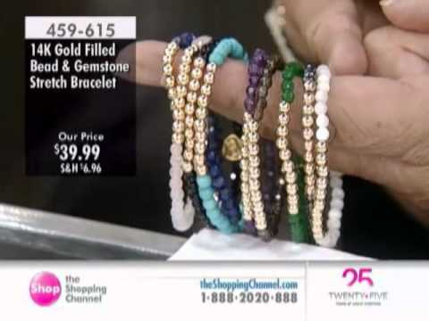 fe577a1ae9e Sundar Designs 14K Gold Filled Balls with Gemstone Stretch Bracelet at The  Shopping Channel 459615