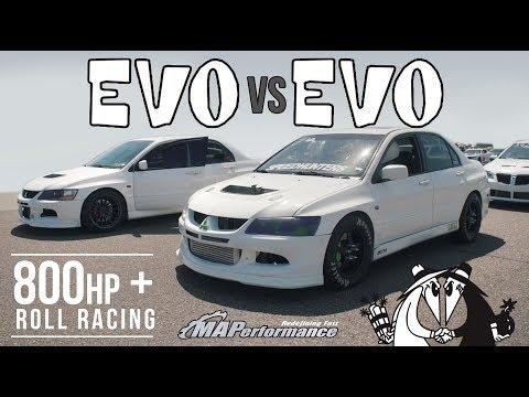 Evo 8 vs Evo 9 800hp Roll Racing | 2.0L vs 2.2L w/ PTE 6466
