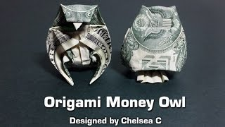 dollar bill origami owl (instructions) money origami, moneygami, $1 bill origami, dollar origami