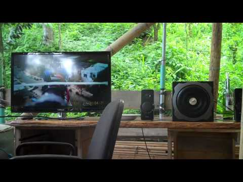 Entertainment Center Setup In the Bamboo Mansion In Costa Rica