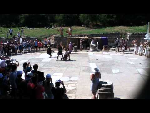 Gladiator fight at the Arcadian Way in Ephesus