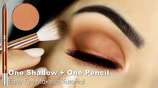 Beginners Eye Makeup Tutorial Using One Eyeshadow + Eyeliner Pencil | How To Apply Eyeshadow