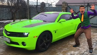Mr. Joe in Car Service on Multi-Color Chevrolet Camaro! Compilation Funny Video for Kids