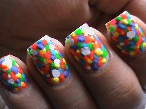 neon nail polish bubbles colorful