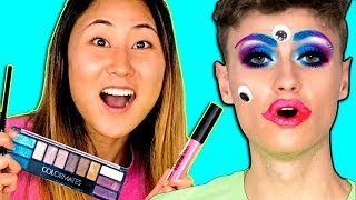 DIY DOLLAR STORE MAKEUP CHALLENGE ON CARTER SHARER!! MAKEOVER SURPRISE REACTION😱