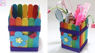 DIY Pen holder with icecream sticks | DIY Desk Organizer With icecream sticks