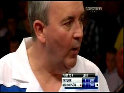 "Phil Taylor saying ""What a W*nker"" at Paul Nicholson - 2011 PDC UK Open"