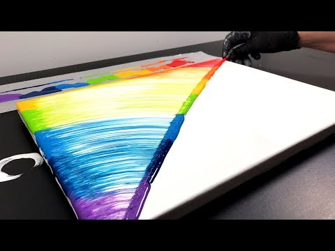 String Pull - Painting A Rainbow With Liquid Acrylics - Fast And Easy To Do!