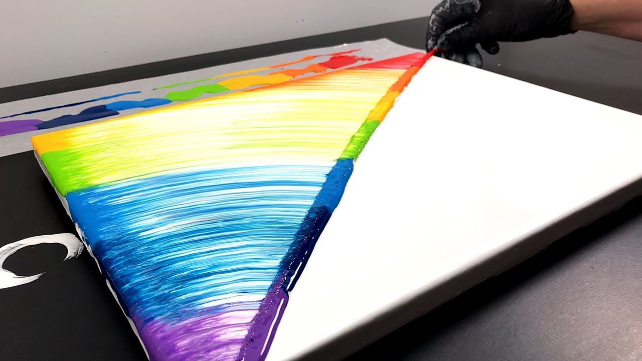 String Pull Painting A Rainbow With Liquid Acrylics