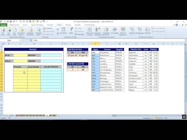 V#29    - Excel Expert - Avançado - Ex : 08 - Validação de Dados