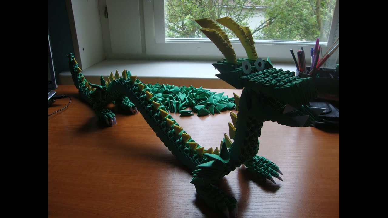 3D origami chinese dragon - YouTube