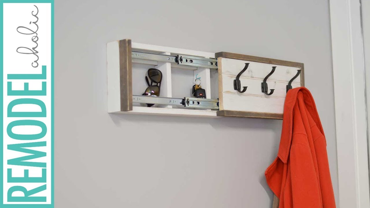 Coat Rack with Hidden Compartment DIY Tutorial - YouTube