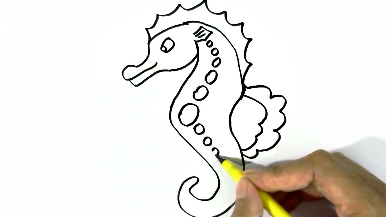 How to draw a seahorse easy steps for children kids for How to draw a simple seahorse