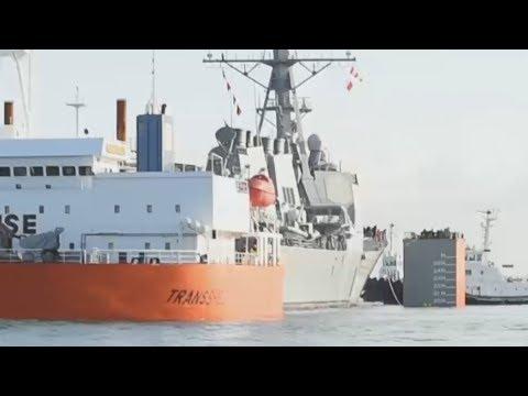 Damaged USS Fitzgerald (DDG 62) is loaded onto the Dockwise GIGANTIC HEAVY LIFT SHIP Transshelf!