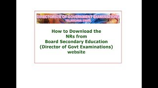How to download SSC NRs from BSE Telangana