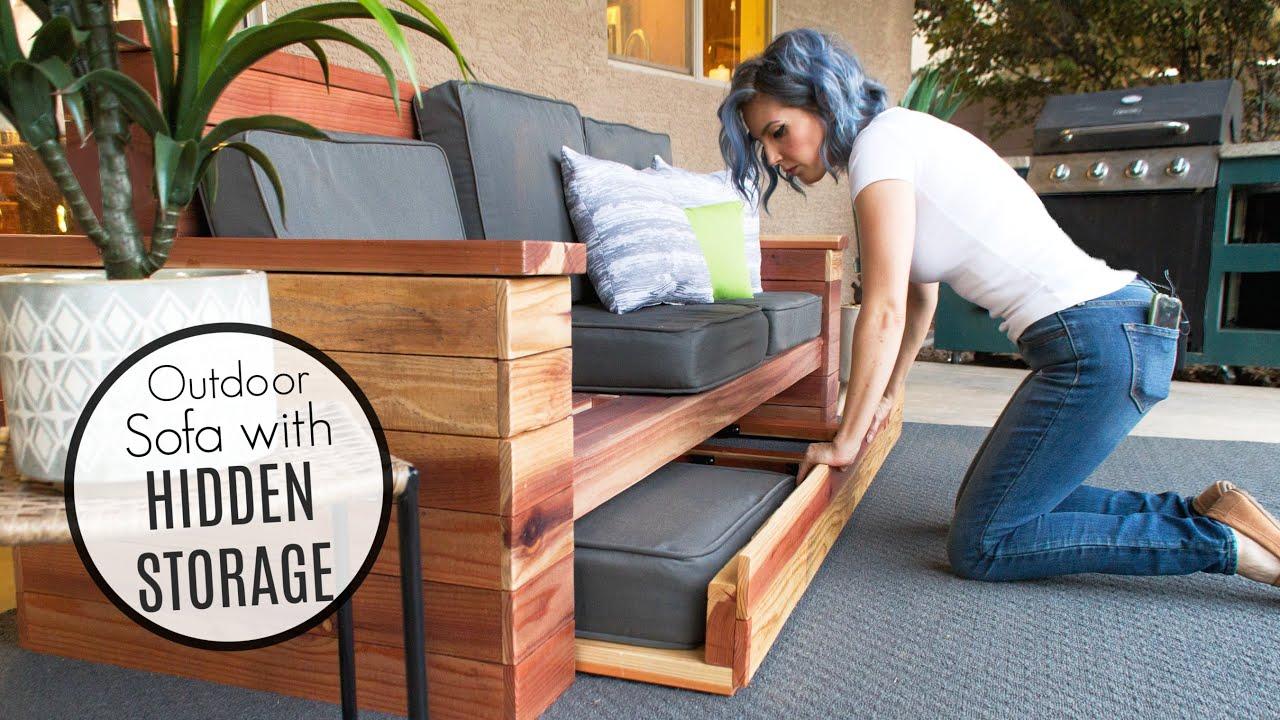 DIY Outdoor Sofa with HIDDEN STORAGE