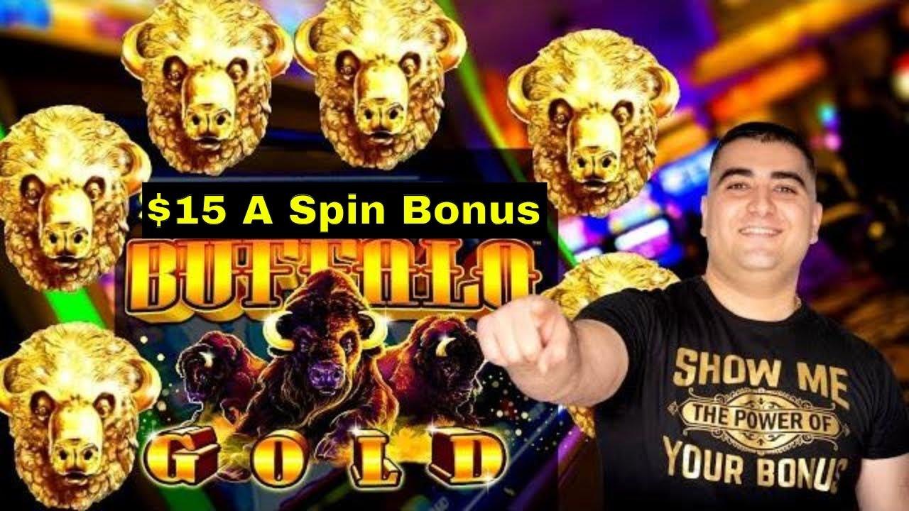 High Limit Buffalo Gold Slot Machine $15 Bet Bonus   Live Slot Play At Casino   SE-3   EP-1