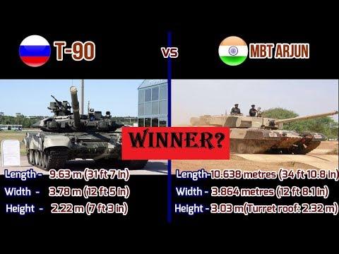 Russian T-90 tank vs Indian MBT Arjun tank comparison 2018