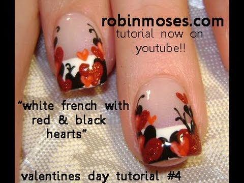 Valentine Heart Nail Art | Red & Black Valentine's day Nails Design
