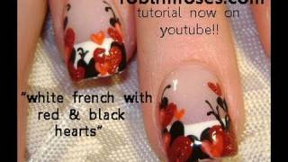Gothic Black and Red Heart Nails
