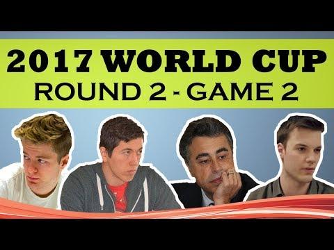 2017 WORLD CUP Round 2 Game 2: Yasser Seirawan & Eric Hansen w/ Nils Grandelius