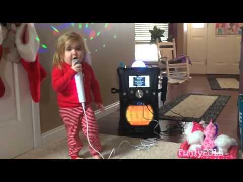 Little Girl Doing Funny Karaoke