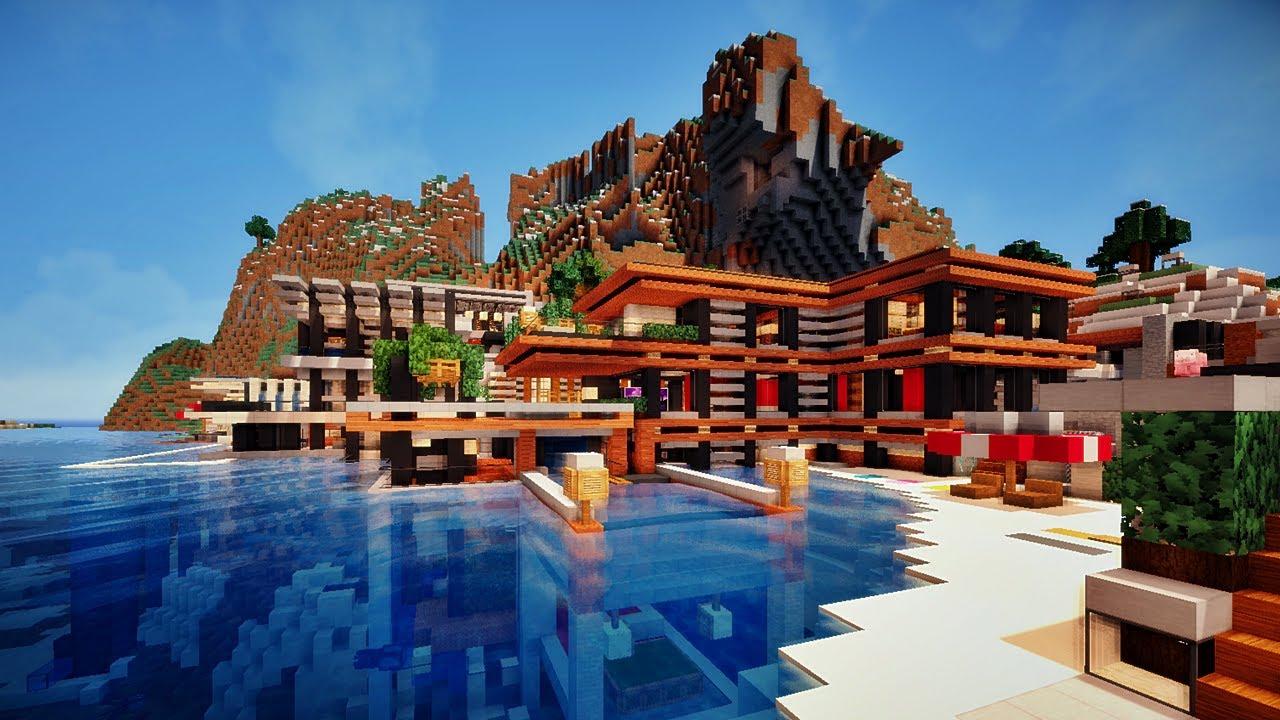 Minecraft Maison moderne sur falaise 3/3 - YouTube