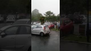Raining in UPM Library Parking