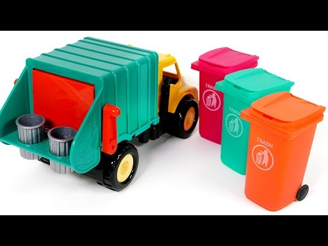 Garbage Truck Trash Can Surprise Candy Toys for Children Learn Colors