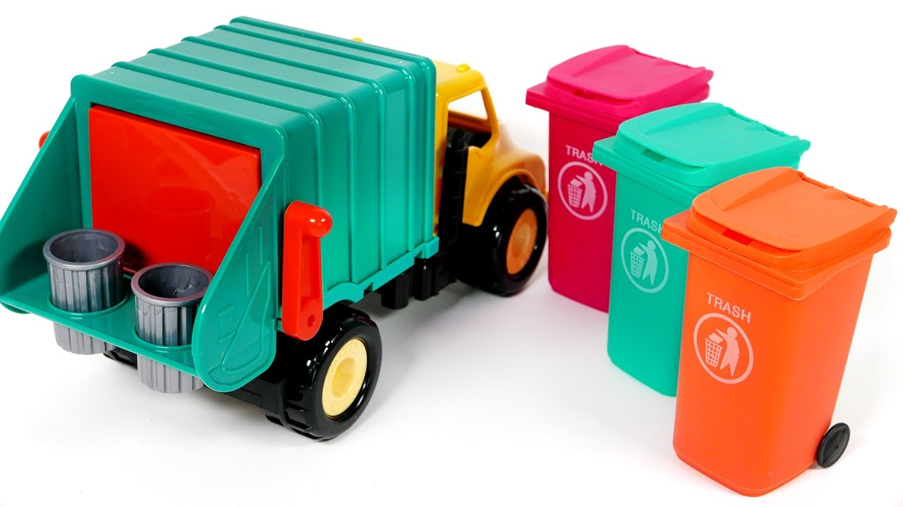 Colorful Garbage Cans Garbage Truck Trash Can Surprise Candy Toys For Children Learn Colors