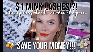 $1 MINK LASHES!?! 😱 | ALIEXPRESS MINK/SYNTHETIC LASH REVIEW & TRY-ON