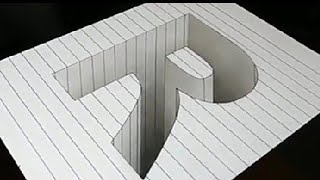 Drawing a 3d R hole - art optical illusion