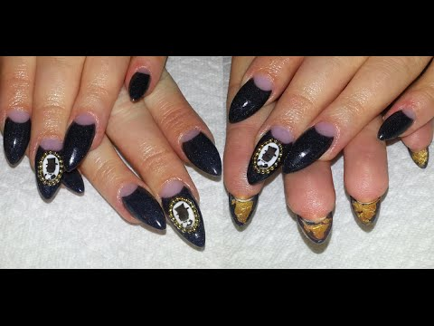 Wave Gothic Nails With Diy 3d Cameo Black And Gold Almond Nail Art